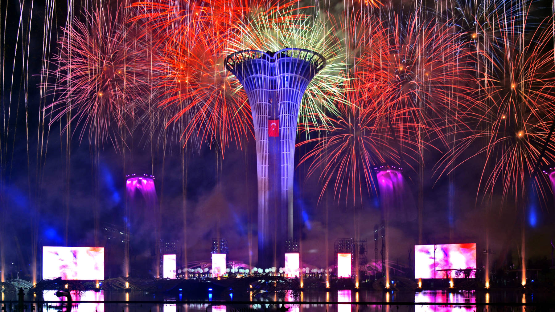 Expo Tower with fire works