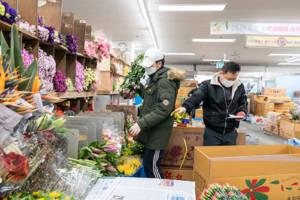 Inside one of South Korea's flower wholesale markets.