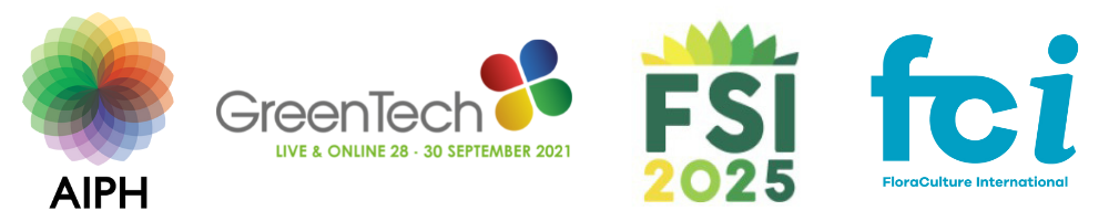 Logos for AIPH, GreenTech, FSI and FCI - who are all partners for the AIPH Sustainability Conference 2021