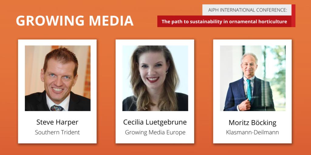 AIPH Sustainability Conference 'Growing Media' panellists Steve Harper, Cecilia Luetgebrune, and Moritz Böcking