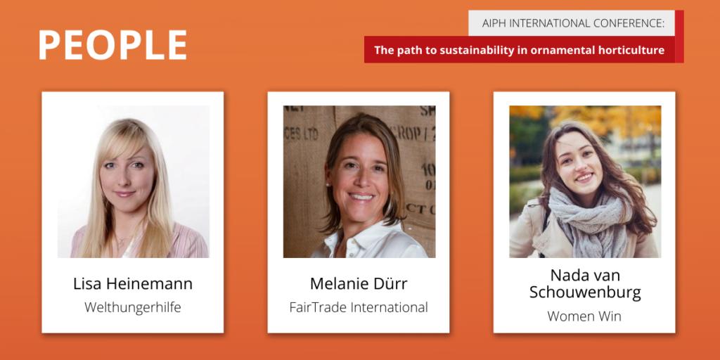 AIPH Sustainability Conference 'People' panellists Lisa Heinemann, Melanie Dürr, and Nada van Schouwenburg